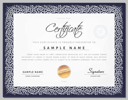 celt: Gift Vintage Certificate  diploma  award template with border as celtic pattern in vector