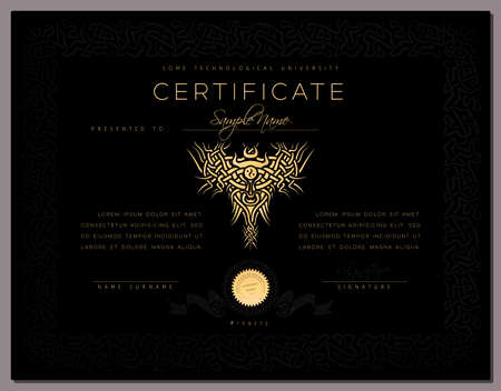 diploma: Gift black luxury Certificate  diploma  award template with border as celtic pattern and golden elements in vector Illustration