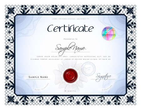 bas: Gift vintage certificate  diploma  award template with protective macrame figure and bas  basrelief elements in vector Illustration