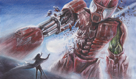 performed: Fantasy Watercolor Landscape - Big Red Robot fights with a person with magical powers - performed by watercolor and color pencils
