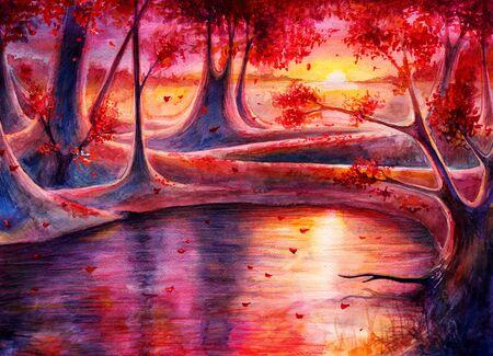 Watercolor autumn forest landscape, sunset painting art Archivio Fotografico - 129068118