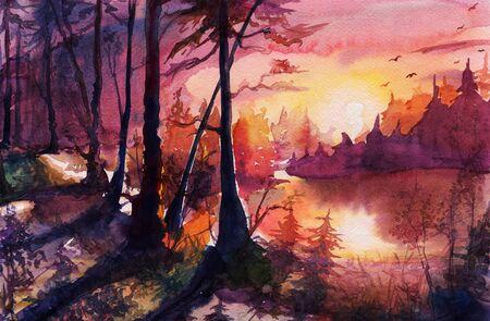 Watercolor sunset forest landscape, autumn painting art Archivio Fotografico - 129068122