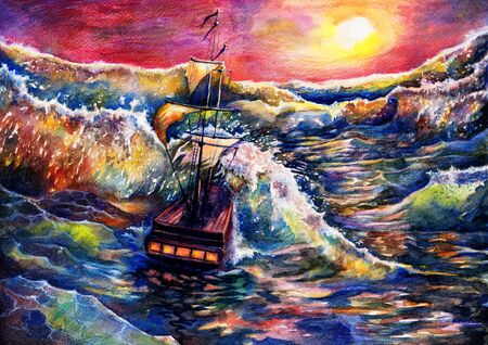 Sea landscape painting with ship, watercolor background drawing, sunset in ocean illustration, its art hand drawn by watercolor and colored pencils