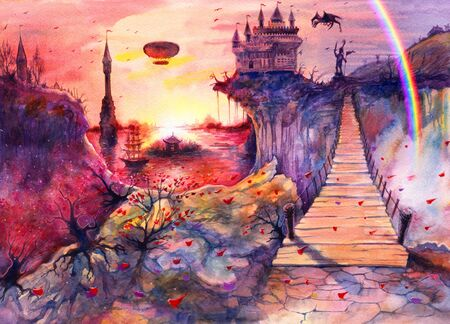 Drawing art beautiful sea sunset landscape, watercolor painting castle, rocks, cliffs, dragon, rainbow, Crimea bridge, hand drawn painting is made by watercolor on white paper, romantic background Stok Fotoğraf