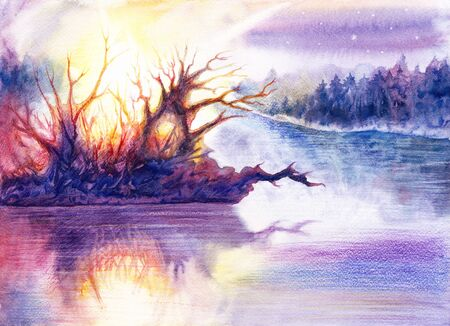 Drawing beautiful landscape art with river or lake, forest, water, trees, sun, sky, stars, hand drawn painting by watercolor and colored pencils on white paper, romantic background