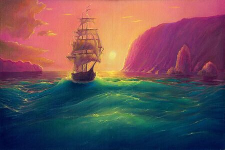 Oil painting art on canvas, sea landscape background, seascape with ship, vessel in ocean drawing, its art hand drawn by oil on canvas Stock fotó