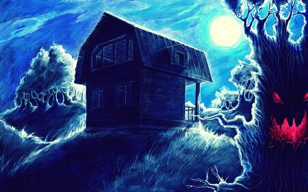 Watercolor fantasy painting, night horror landscape background with home, moon, trees, hills, fantasy drawing, mysterious dark picture, this art hand drawn by gouache and colored pencils on cardboard