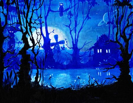 Oil on canvas fantasy painting, night horror landscape background with river, home, moon, trees, fantasy drawing, mysterious dark picture, this art hand drawn by oil Foto de archivo - 130148681