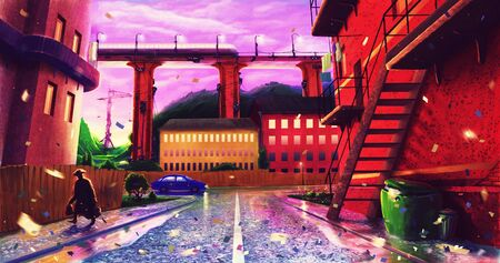 Futuristic urban landscape background by digital painting art, outdoor city landscape, buildings drawing, town illustration, fantasy artwork Stock Illustration - 130148687
