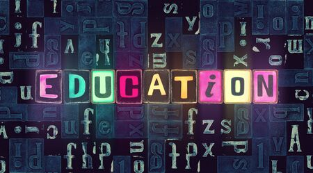 The word Education as neon glowing unique typeset symbols, luminous letters for studying, learning, training, teaching, back to school theme. Foto de archivo - 130148703