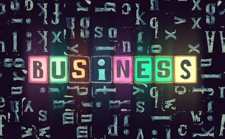 The word Business as neon glowing unique typeset symbols, luminous letters for poster, production, enterprise, industry, company Stok Fotoğraf