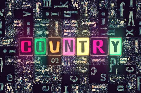 The word Country as neon glowing unique typeset symbols, luminous letters for world, state, city, people, government