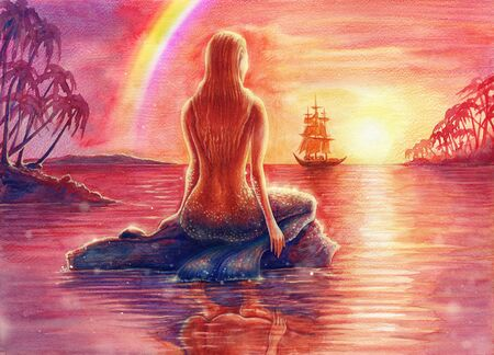 Painting fantasy watercolor landscape with mermaid silhouette is relaxing on shore, seascape with nixie, water nymph, undine, seamaid in sea, beautiful sunset, ocean, palm trees, hand drawn background