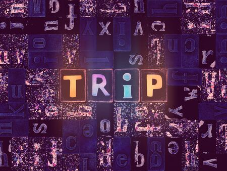 The word Trip as neon glowing unique typeset symbols, luminous letters trip