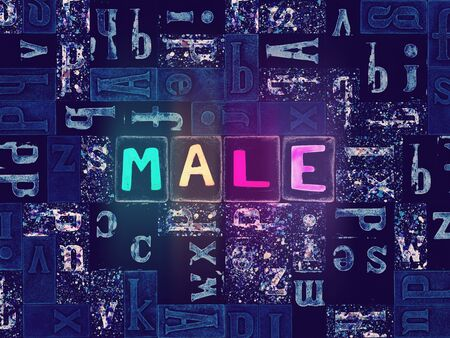 The word Male as neon glowing unique typeset symbols, luminous letters male Stok Fotoğraf