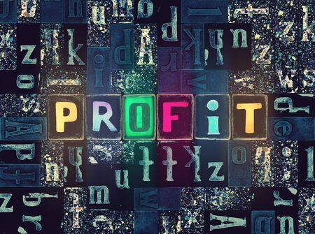 The word Profit as neon glowing unique typeset symbols, luminous letters profit