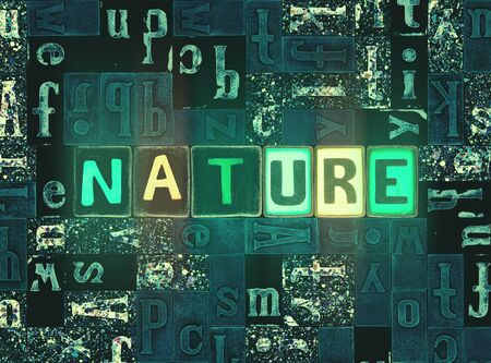 The word Nature as neon glowing unique typeset symbols, luminous letters nature