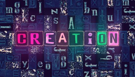 The word Creation as neon glowing unique typeset symbols, luminous letters creation Stok Fotoğraf