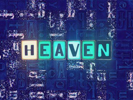 The word Heaven as neon glowing unique typeset symbols, luminous letters heaven