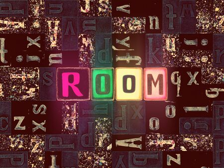 The word Room as neon glowing unique typeset symbols, luminous letters room