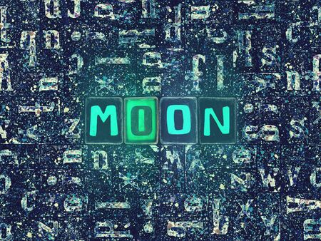 The word Moon as neon glowing unique typeset symbols, luminous letters moon