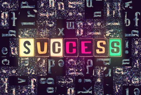 The word Success as neon glowing unique typeset symbols, luminous letters success