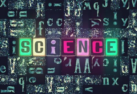 The word Science as neon glowing unique typeset symbols, luminous letters science