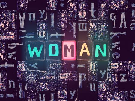 The word Woman as neon glowing unique typeset symbols, luminous letters woman