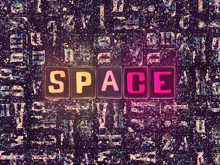 The word Space with neon luminous glowing, unique typeset letters abstract mosaic pattern background, lettering symbols collection for space poster Stok Fotoğraf