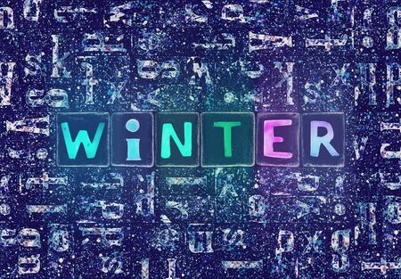 The word Winter as neon glowing unique typeset symbols, luminous letters winter