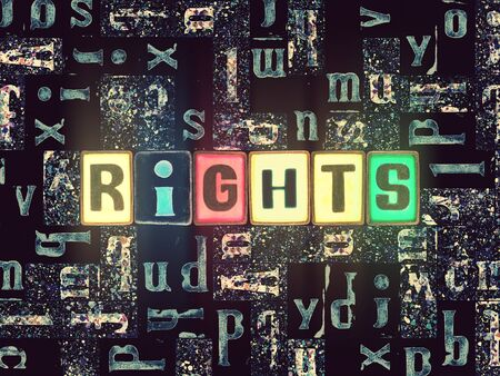 The word rights as neon glowing unique typeset symbols, luminous letters rights