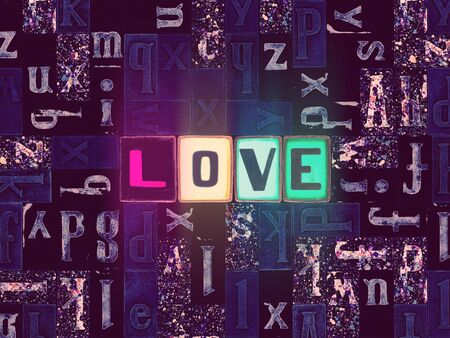The word Love as neon glowing unique typeset symbols, luminous letters love Stok Fotoğraf