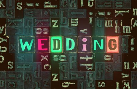 The word Wedding as neon glowing unique typeset symbols, luminous letters wedding Stok Fotoğraf