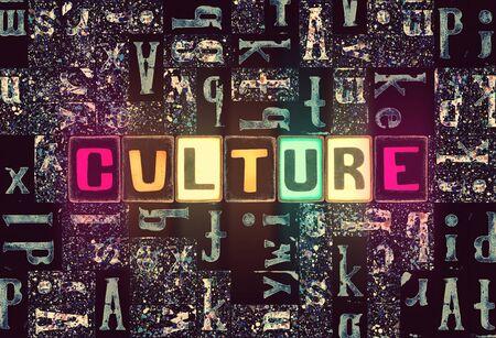 The word Culture as neon glowing unique typeset symbols, luminous letters culture