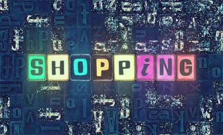 The word Shopping as neon glowing unique typeset symbols, luminous letters shopping
