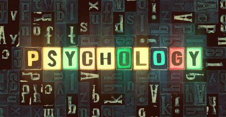 The word Psychology as neon glowing unique typeset symbols, luminous letters psychology Stok Fotoğraf