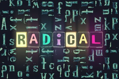 The word Radical as neon glowing unique typeset symbols, luminous letters radical