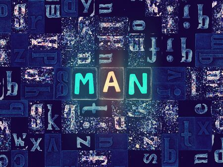 The word Man as neon glowing unique typeset symbols, luminous letters man