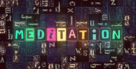 The word Meditation as neon glowing unique typeset symbols, luminous letters meditation