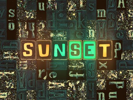The word Sunset with neon luminous glowing, unique typeset letters abstract mosaic pattern background, lettering symbols collection for sunset poster Stok Fotoğraf