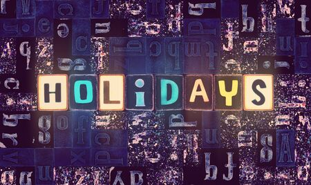 The word Holidays as neon glowing unique typeset symbols, luminous letters holidays