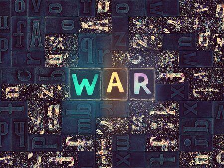 The word War as neon glowing unique typeset symbols, luminous letters war Stok Fotoğraf