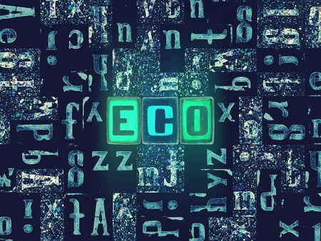 The word Eco as neon glowing unique typeset symbols, luminous letters eco