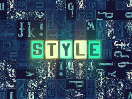 The word Style as neon glowing unique typeset symbols, luminous letters style Stok Fotoğraf
