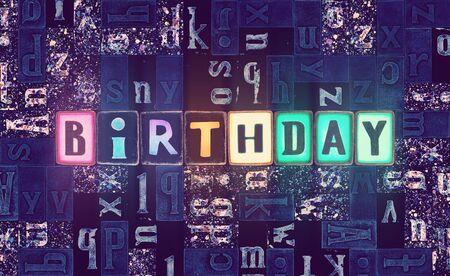 The word Birthday as neon glowing unique typeset symbols, luminous letters birthday Stok Fotoğraf