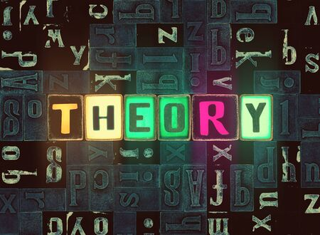 The word Theory as neon glowing unique typeset symbols, luminous letters theory