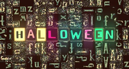 The word Halloween as neon glowing unique typeset symbols, luminous letters halloween