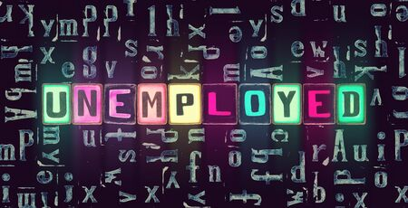 The word Unemployed with neon luminous glowing, unique typeset letters abstract mosaic pattern background, lettering symbols collection for unemployed poster Stok Fotoğraf
