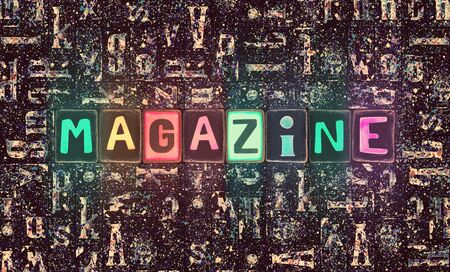 The word Magazing as neon glowing unique typeset symbols, luminous letters magazing