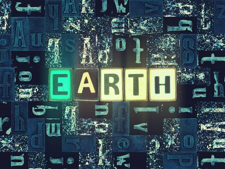 The word Earth with neon luminous glowing, unique typeset letters abstract mosaic pattern background, lettering symbols collection for earth poster